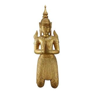 Teppanom Gilt Wood Kneeling Thai Buddhist Figure