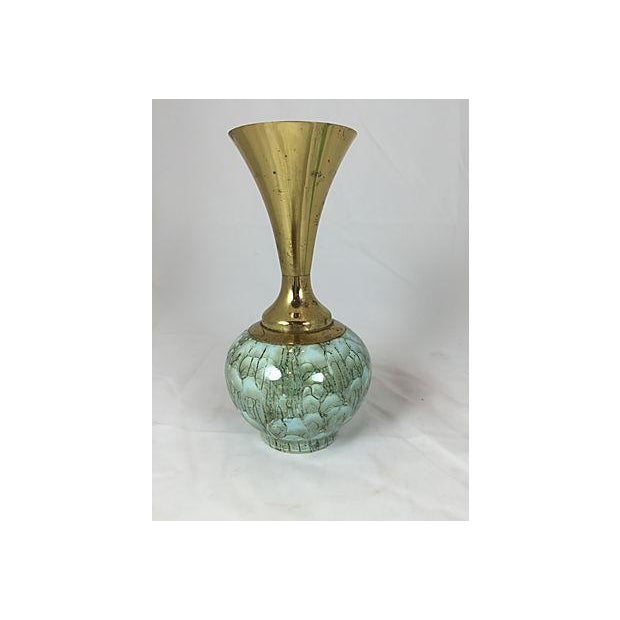 Hand Painted Turquoise Delft & Brass Vase - Image 2 of 5