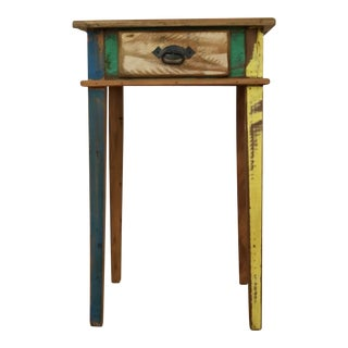 Antique Handmade Reclaimed Wood Side Table