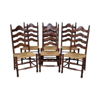 Solid Maple Rush Seat Ladder Back Dining Chairs - Set of 6