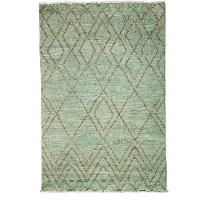 """Image of Moroccan Hand Knotted Area Rug - 4'1"""" X 6'"""
