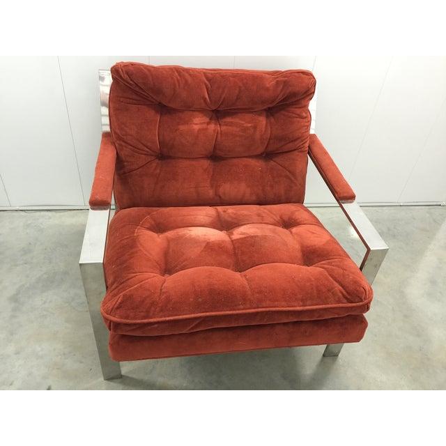 Milo Baughman Chrome and Velvet Lounge Chair - Image 3 of 7