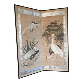 'Cranes' Japanese Painted Screen