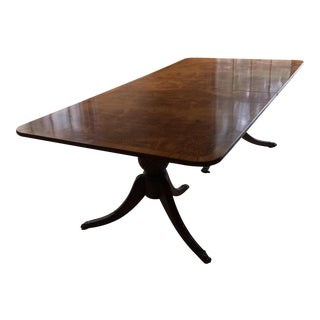 Burl and Mahogany Double Pedestal Dining Table
