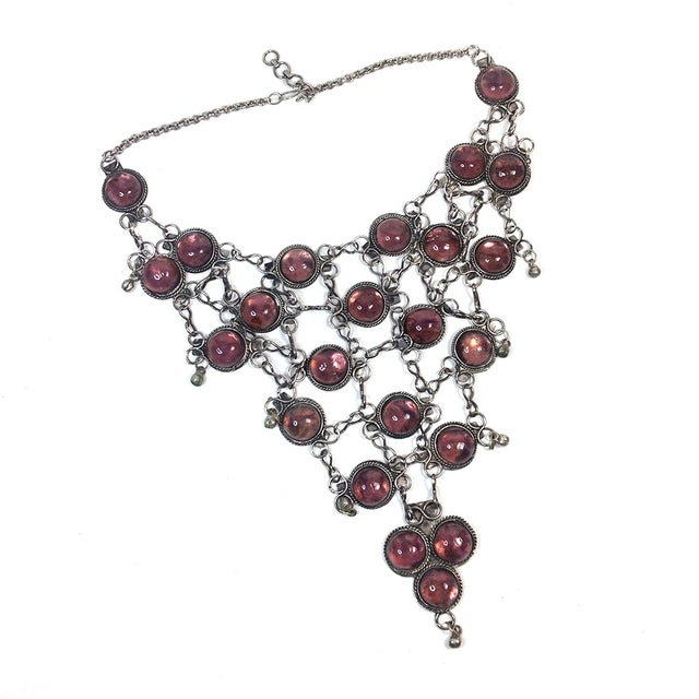 Image of Silver Bib Necklace With Purple Stones