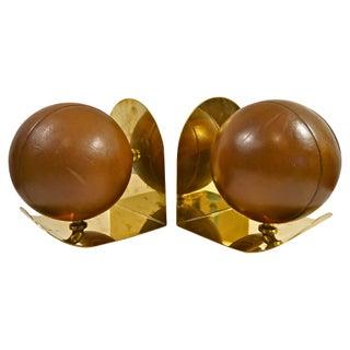 Leather Ball & Brass Sarreid Bookends