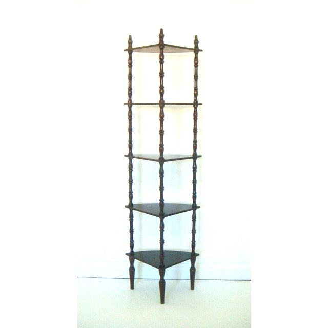 Image of Vintage Mahogany Corner Etagere with Five Shelves