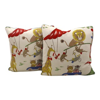 Vintage Circus Motif Pillows - A Pair