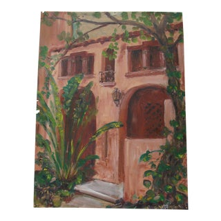 Southwestern Spanish Colonial Stucco Facade Oil Painting
