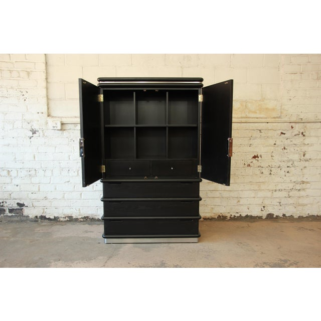 Jay Spectre for Century Cerused Oak & Chrome Armoire - Image 5 of 11