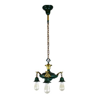 3 Light Pan Fixture in Gold & Green.
