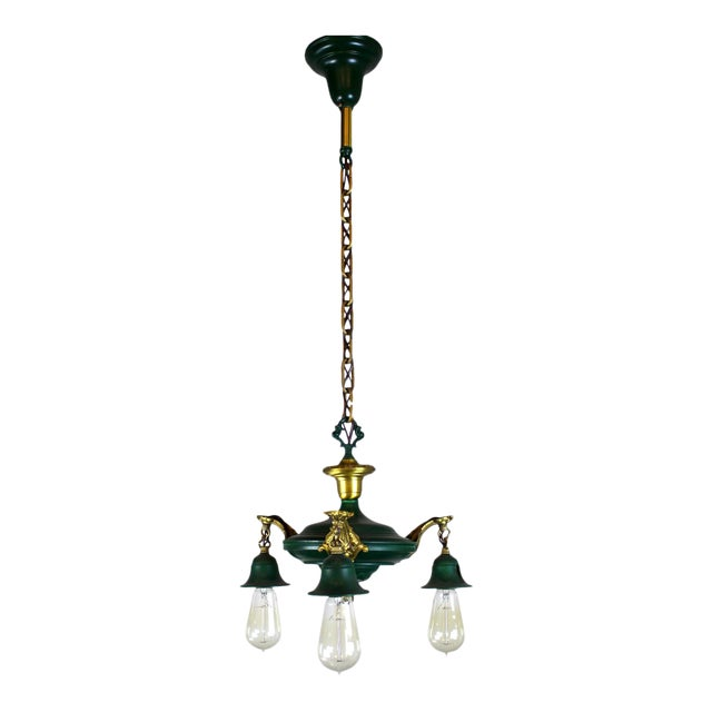 3 Light Pan Fixture in Gold & Green. - Image 1 of 8