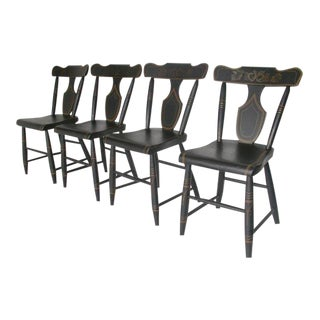 19th Century Black Painted Plank Bottom Chairs