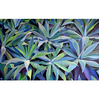 Agave Blue Triptych Painting