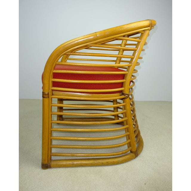 Mid-Century Deco Stylized Rattan Arm Chair - Image 10 of 10