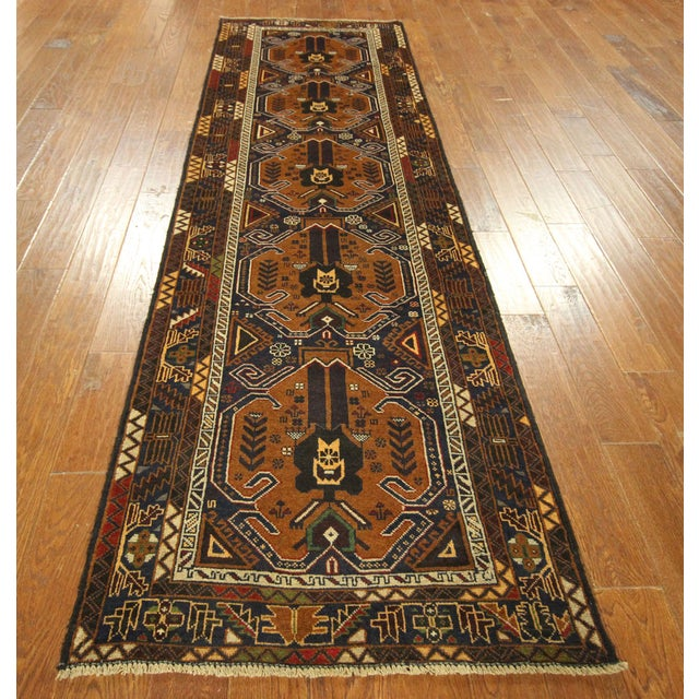 "Brown & Navy Balouch Runner Rug - 3' x 9'10"" - Image 2 of 9"