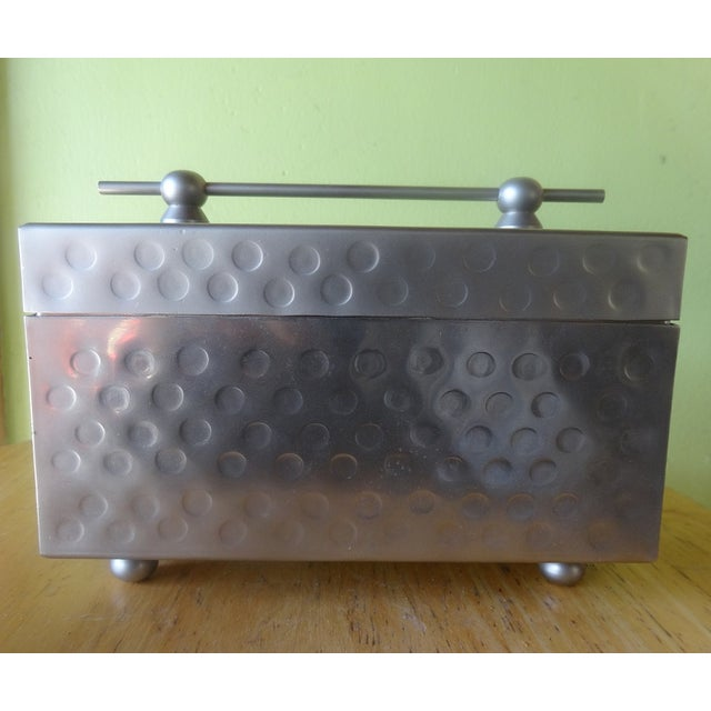 Sleek Miniature Silver Jewelry Box - Image 2 of 7