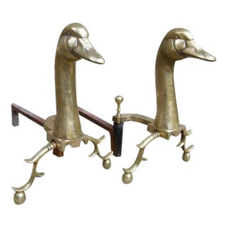 Antique Brass Goose Sporting Andirons - A Pair