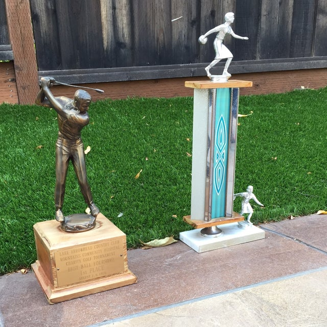 1970's Men's Golf, Women's Bowling Trophies-A Pair - Image 4 of 12