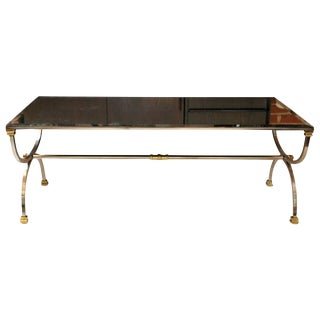 Maison Jansen Style Mirrored Steel and Brass Coffee Table