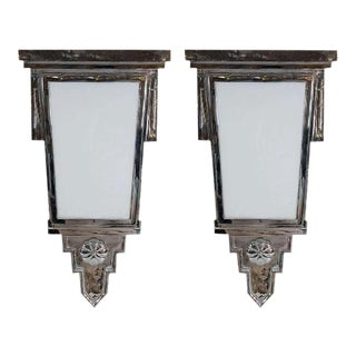 Art Deco Nickeled Bronze Wall Sconces - A Pair