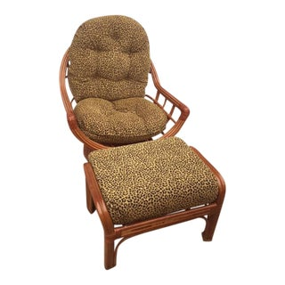 Bamboo & Rattan Swivel Lounge Chair & Ottoman