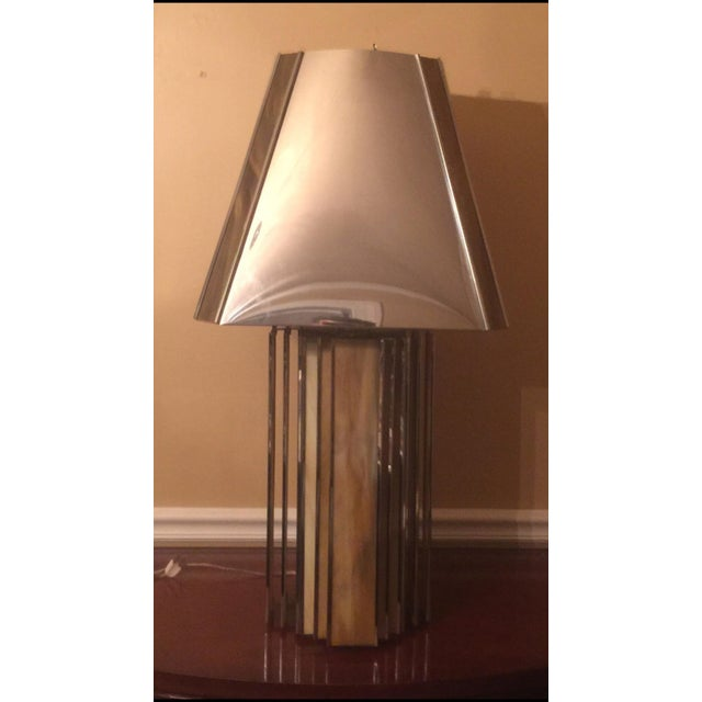 Chrome and Colored Glass Modern Table Lamp - Image 2 of 5