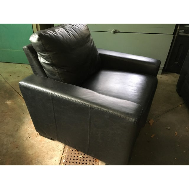 Restoration Hardware Black Leather Maxwell Recliner - Image 3 of 4