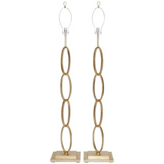 Silver Leaf Chain Link Floor Lamps by Currey - A Pair