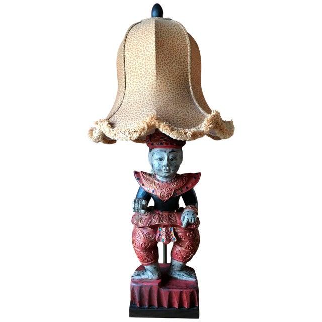 Image of Thai Figure Lamp W/ Custom Leopard Print Shade