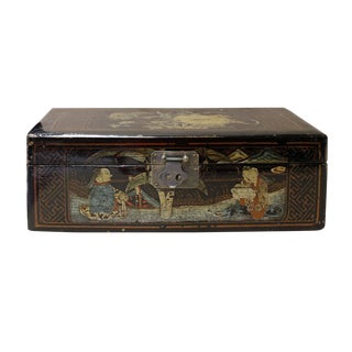 Vintage Chinese Rectangular Wood Black Lacquer Box Display cs2593