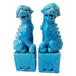 Turquoise Porcelain Foo Dogs - A Pair