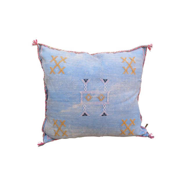 Moroccan Blue Sabra Cactus Silk Pillow - Image 1 of 4