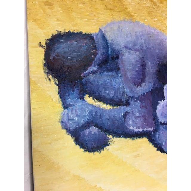 Pointillism Painting of Yoga Crouching Man - Image 6 of 9