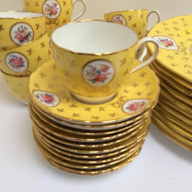 Image of Vintage Spode China Set Yellow With Flowers - Set of 33