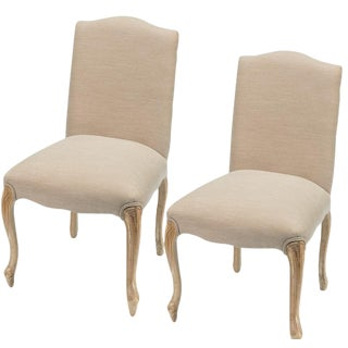 Sarreid Ltd. Vendome Upholstered & Antique Oak Dining Chairs - a Pair