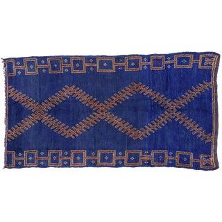 Vintage Berber Blue Moroccan Rug, 5'10x11'