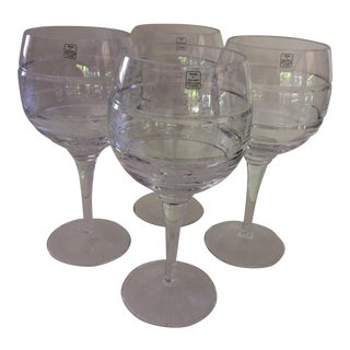 Lead Cut Crystal Wine Goblets - Set of 4
