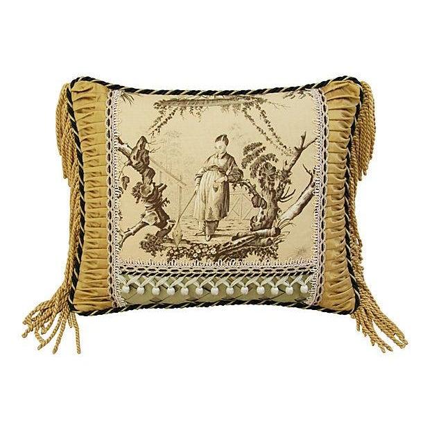 Custom Brunschwig & Fils Toile Boudoir Pillow - Image 2 of 6