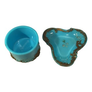 Antique Blue Powder Jar & Pin Tray