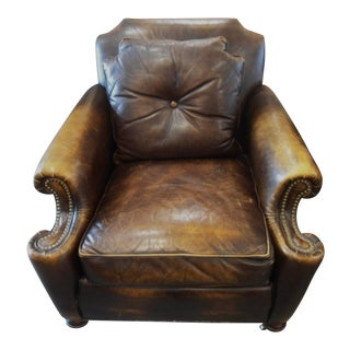 Stickley Dark Brown Leather Armchairs - A Pair