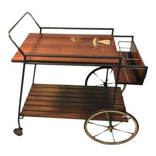 Fornasetti Style Italian Mid-Century Wood & Brass Bar Cart