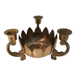 Vintage Brass Lotus Centerpiece Candleholder