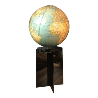 Vintage Lighted Globe on Black Pedestal