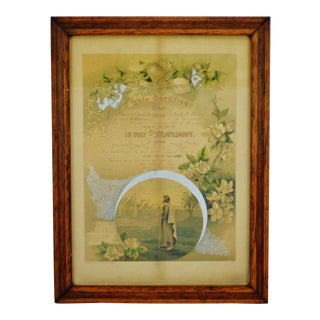 Antique Framed 1901 Pennsylvania Marriage Certificate Matrimony Document
