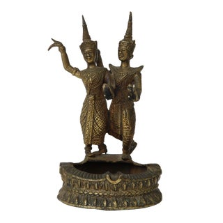 Thai Dancing Couple Brass Ashtray