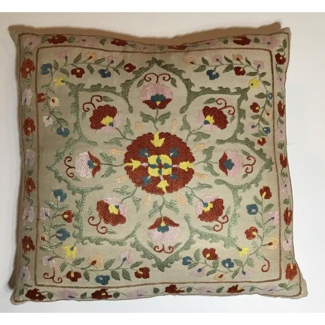 Hand embroidery suzani pillow chairish