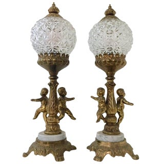 Pair of French Style Bronze Ormolu and Marble Putti Electrified Oil Lamps