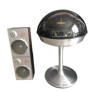 1960's Dome Record Turntable & Speakers