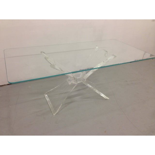 Image of Clear and Frosted Butterfly Lucite Dining Table